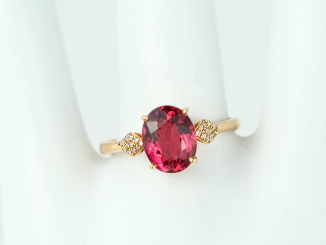 Certified-18k rose gold ring with pink Tourmaline - 8