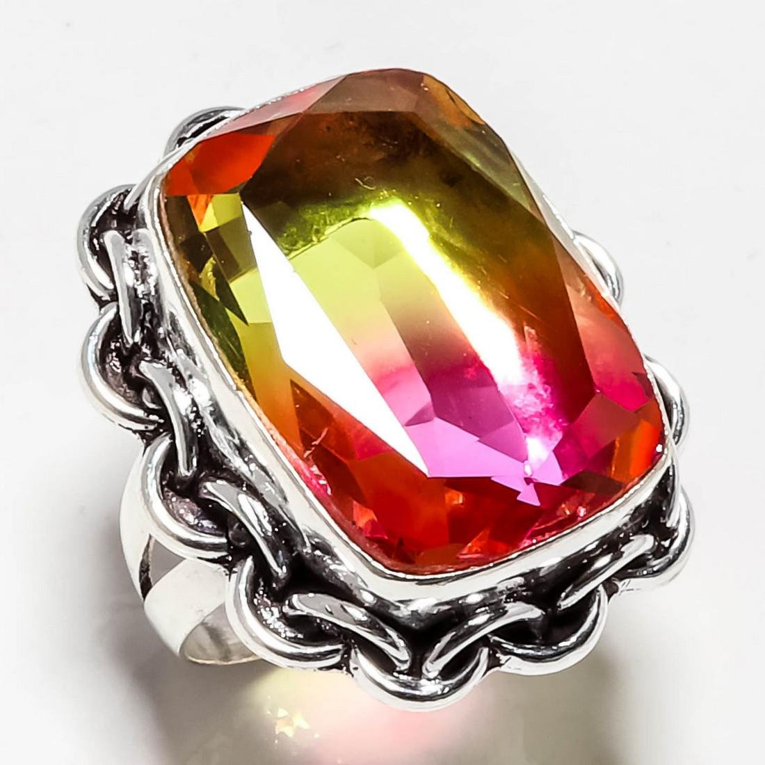 BI-COLOR TOURMALINE GEMSTONE 925 SILVER RING