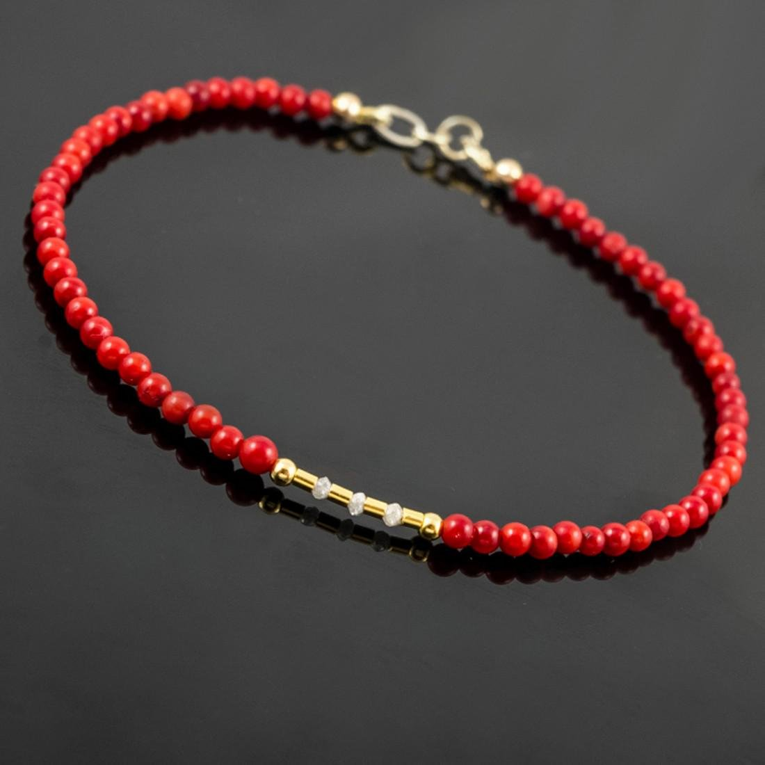 14K Retro Style Red Coral and Diamonds 0.2ctw Bracelet