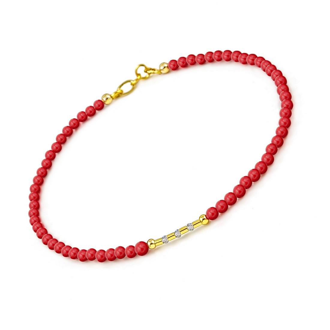 14K Retro Style Red Coral and Diamonds 0.2ctw Bracelet - 2