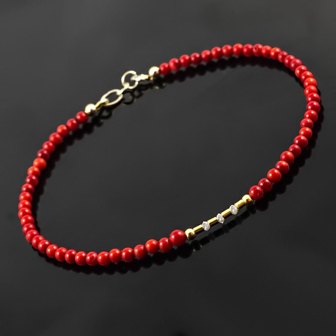 14K Retro Style Red Coral and Diamonds 0.2ctw Bracelet - 4