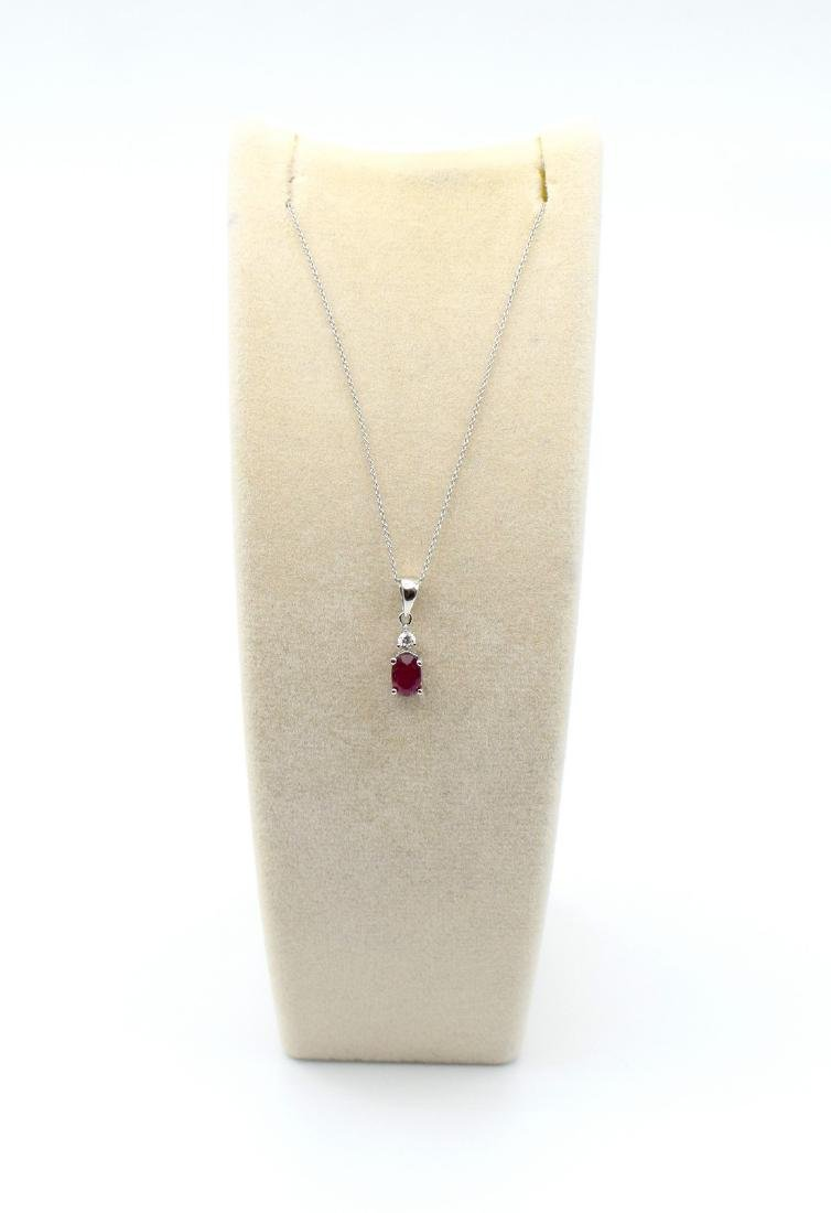 Certified 18 Carat White Gold Necklace with Ruby and