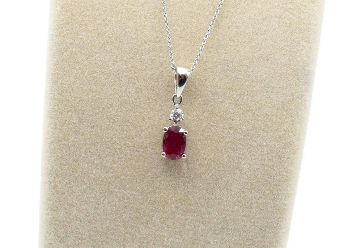 Certified 18 Carat White Gold Necklace with Ruby and - 2