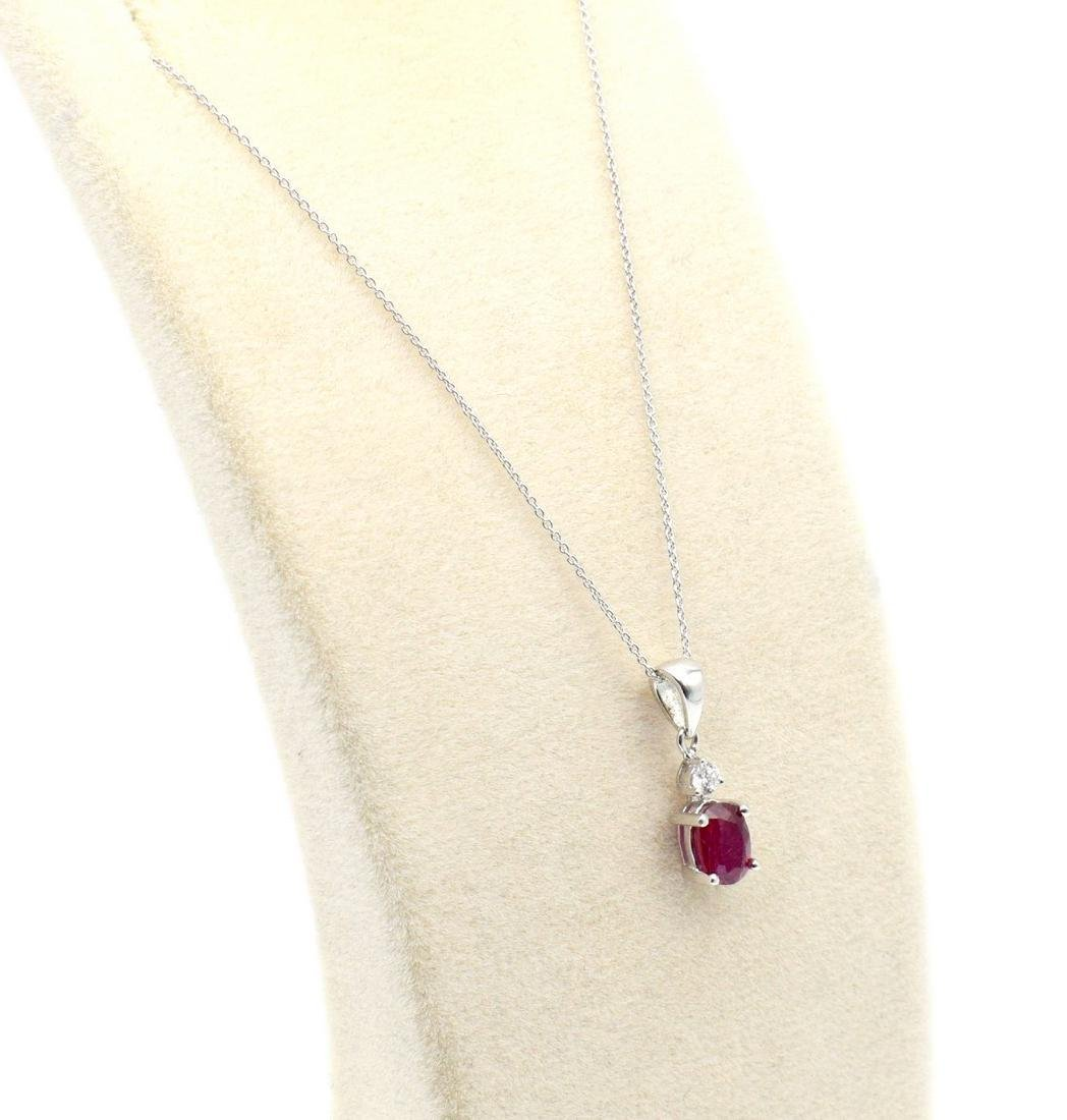 Certified 18 Carat White Gold Necklace with Ruby and - 3