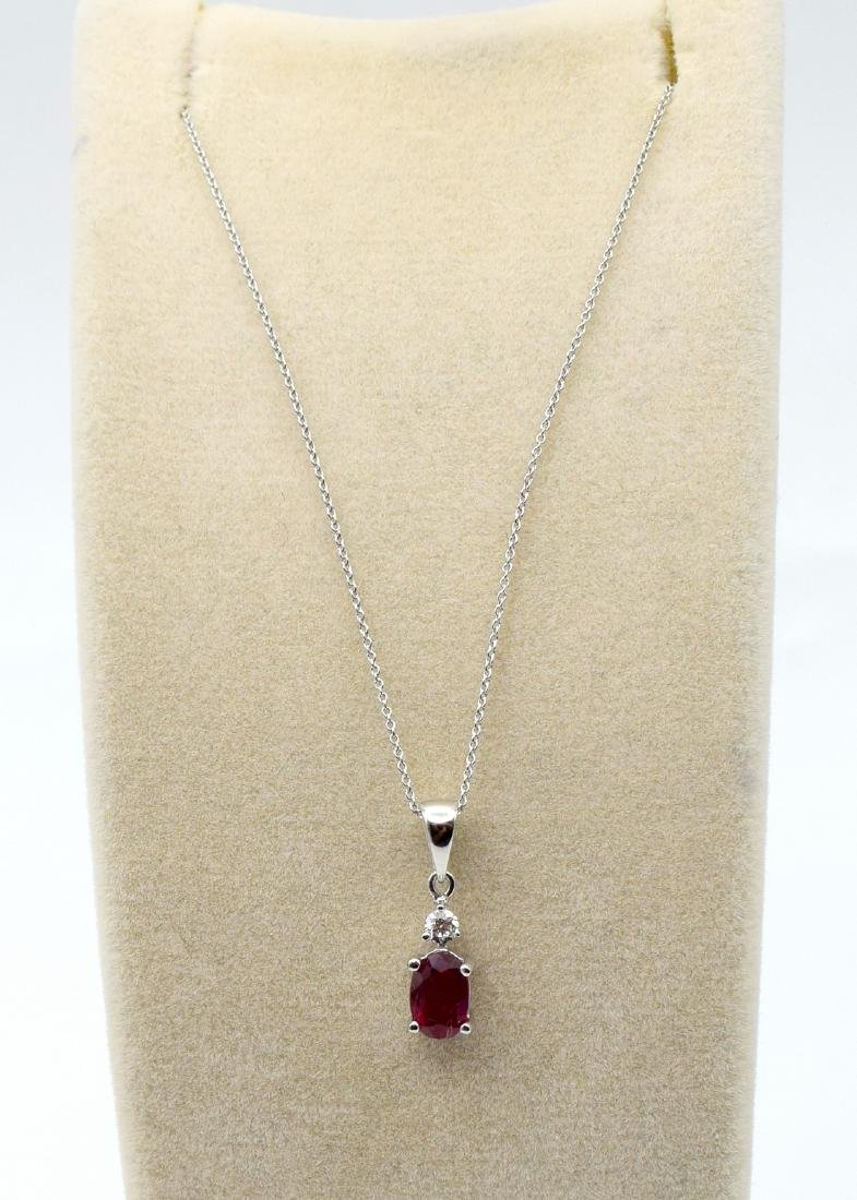 Certified 18 Carat White Gold Necklace with Ruby and - 4