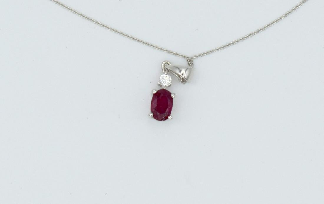 Certified 18 Carat White Gold Necklace with Ruby and - 6