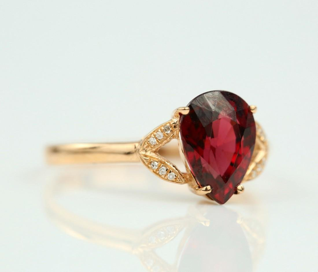 Certified-Exquisite Garnet ring with 18k rose gold - 2