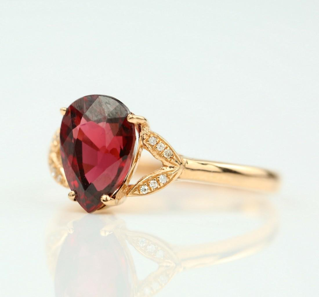 Certified-Exquisite Garnet ring with 18k rose gold - 3