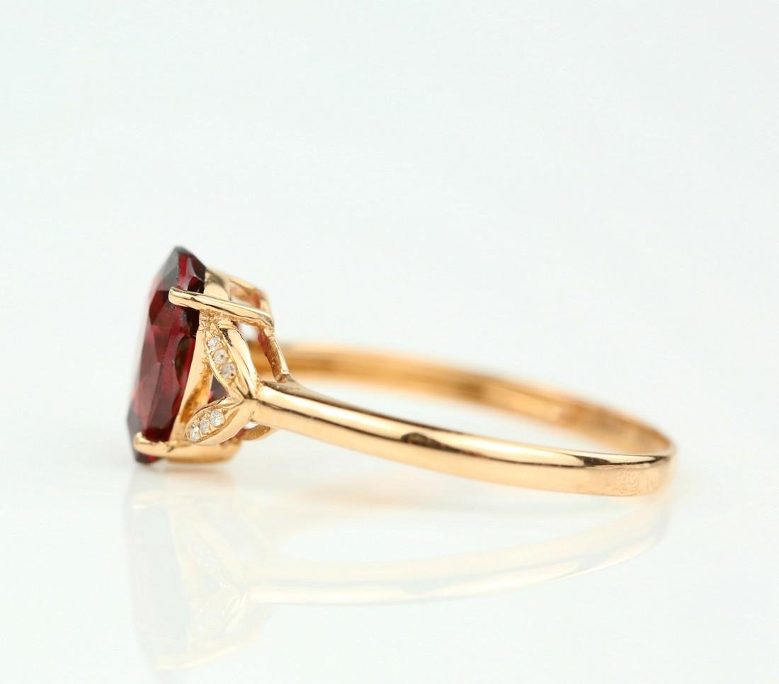 Certified-Exquisite Garnet ring with 18k rose gold - 4
