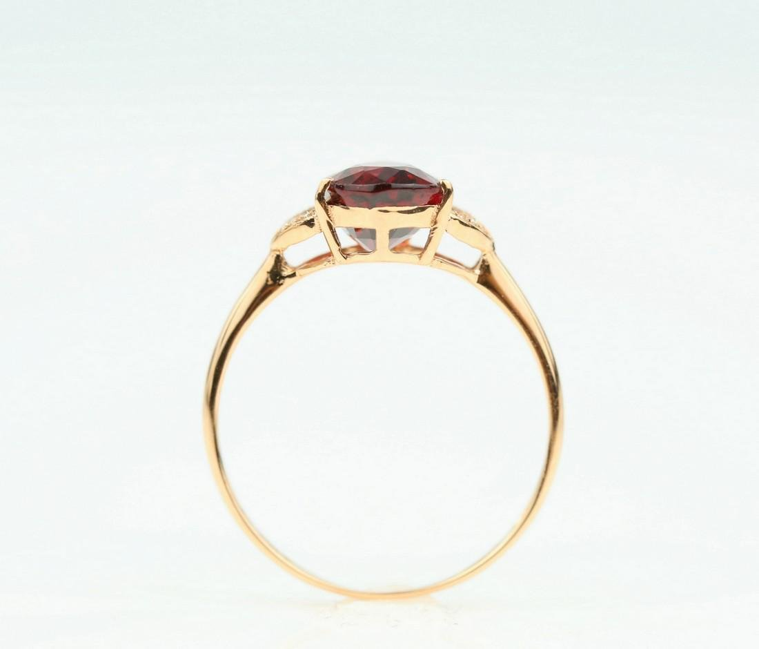 Certified-Exquisite Garnet ring with 18k rose gold - 5
