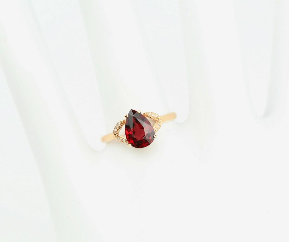 Certified-Exquisite Garnet ring with 18k rose gold - 6