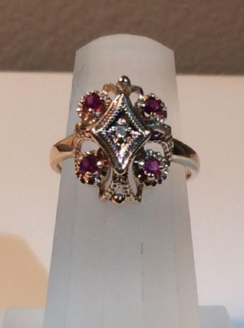 10k Gold Magnolia Ring Size 5 with Garnet and Diamond