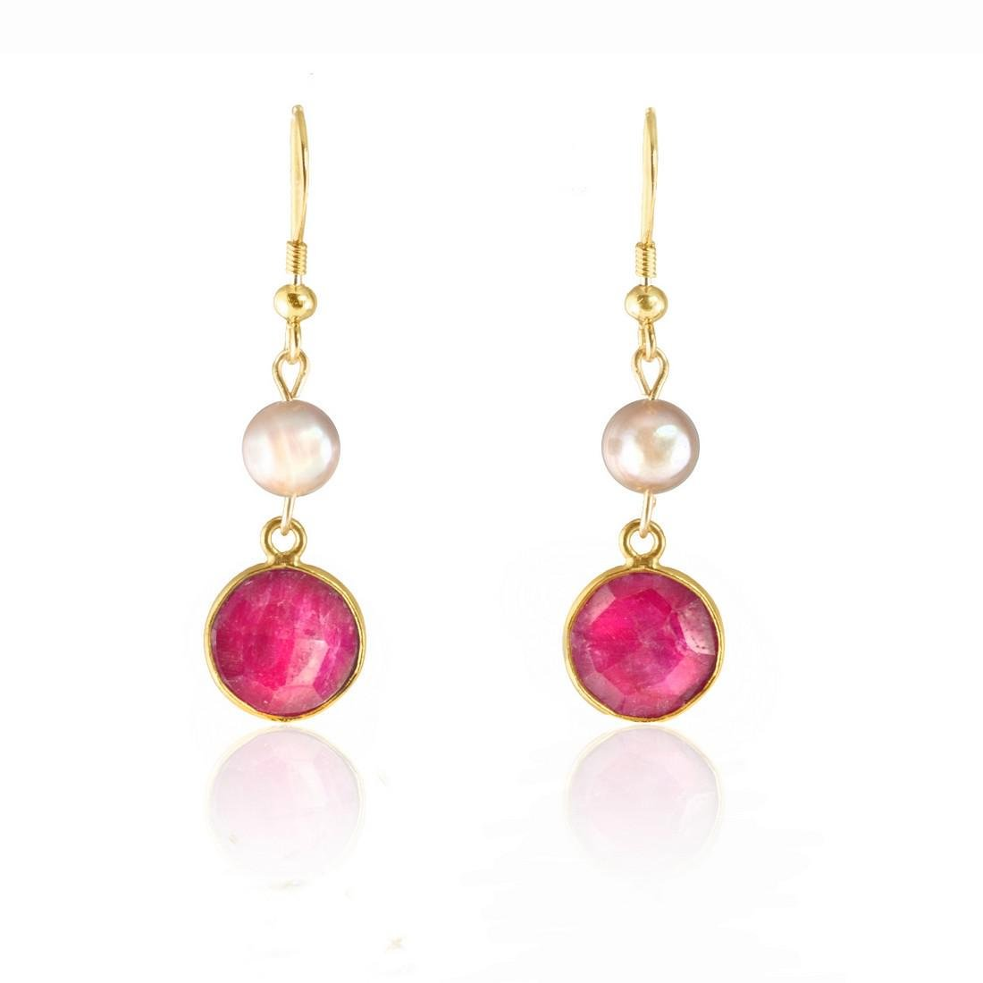 Ruby 5 carat Earrings with Pearls