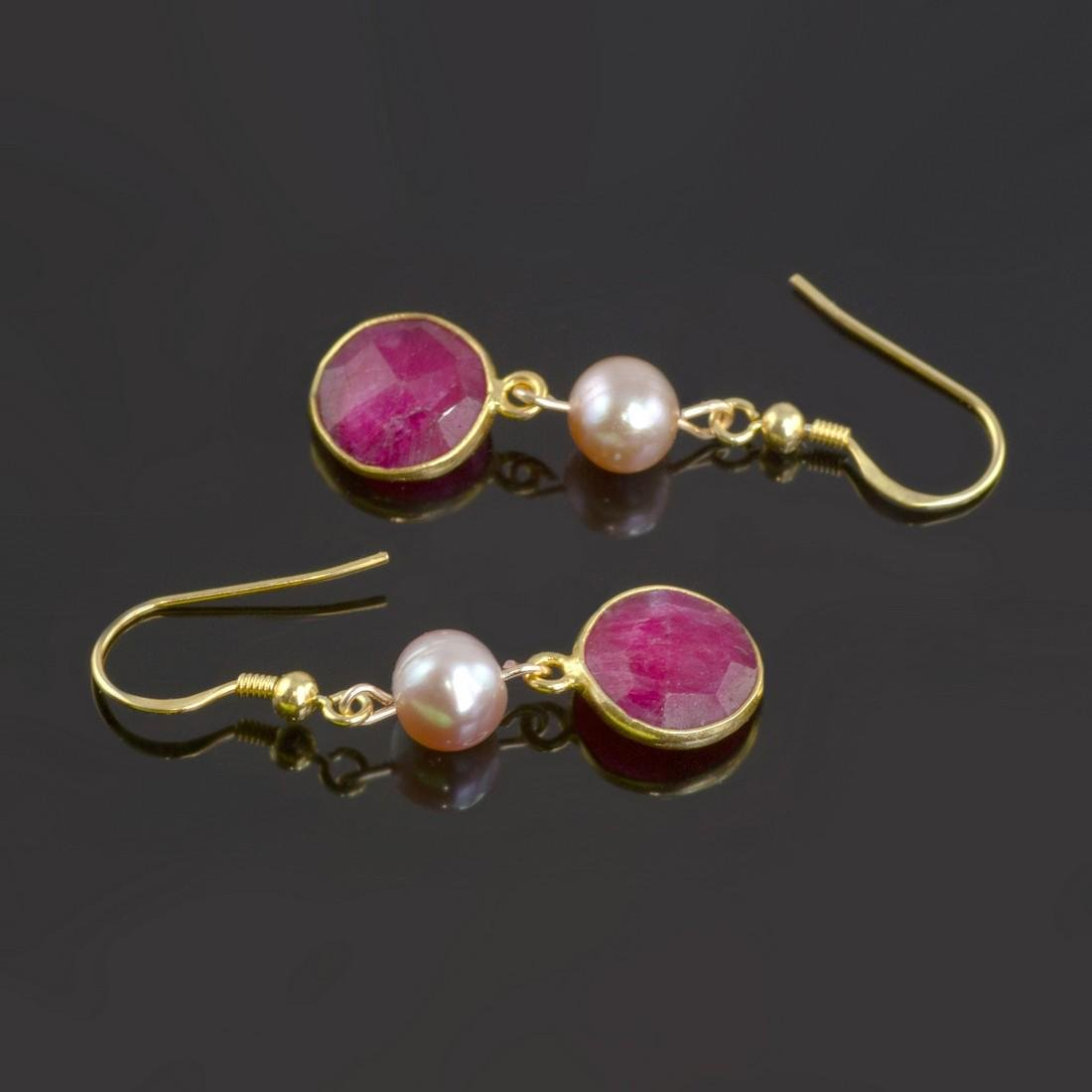 Ruby 5 carat Earrings with Pearls - 2
