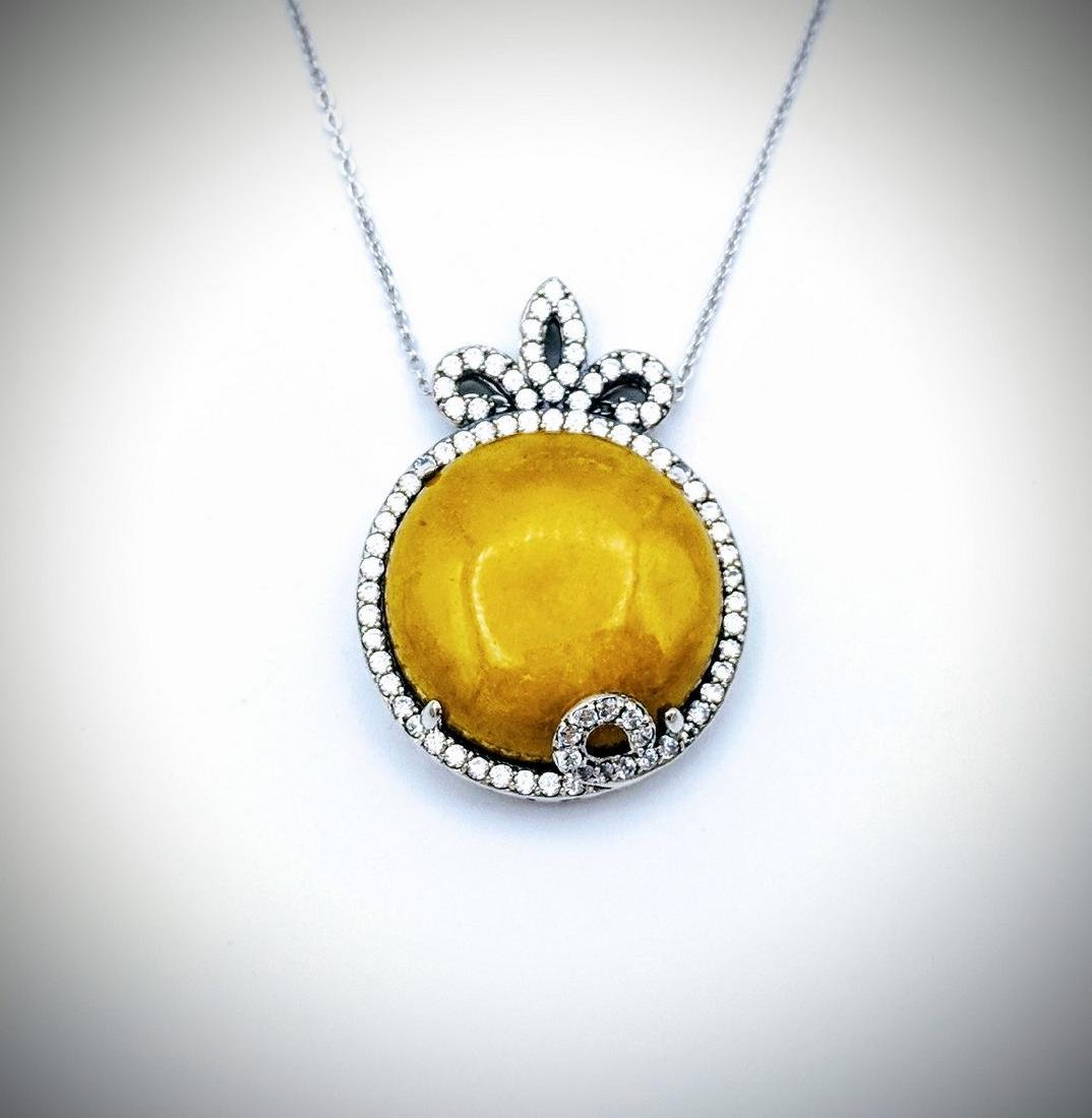 Sterling Silver Necklace with Yellow Jade and Cz