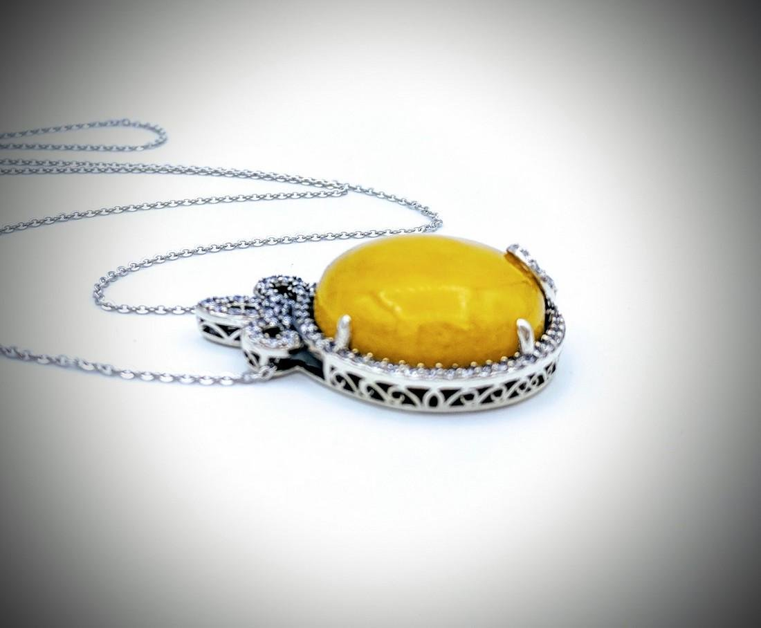 Sterling Silver Necklace with Yellow Jade and Cz - 2