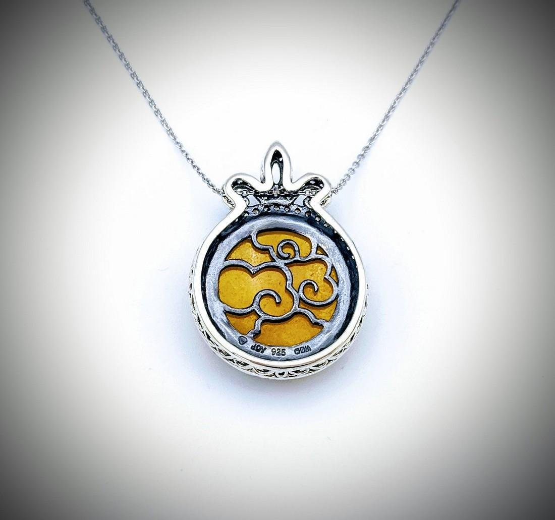 Sterling Silver Necklace with Yellow Jade and Cz - 3