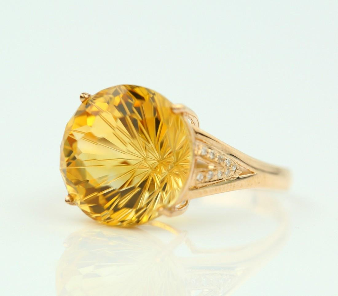 Certified-Beautiful Citrine 18k rose gold ring - 3