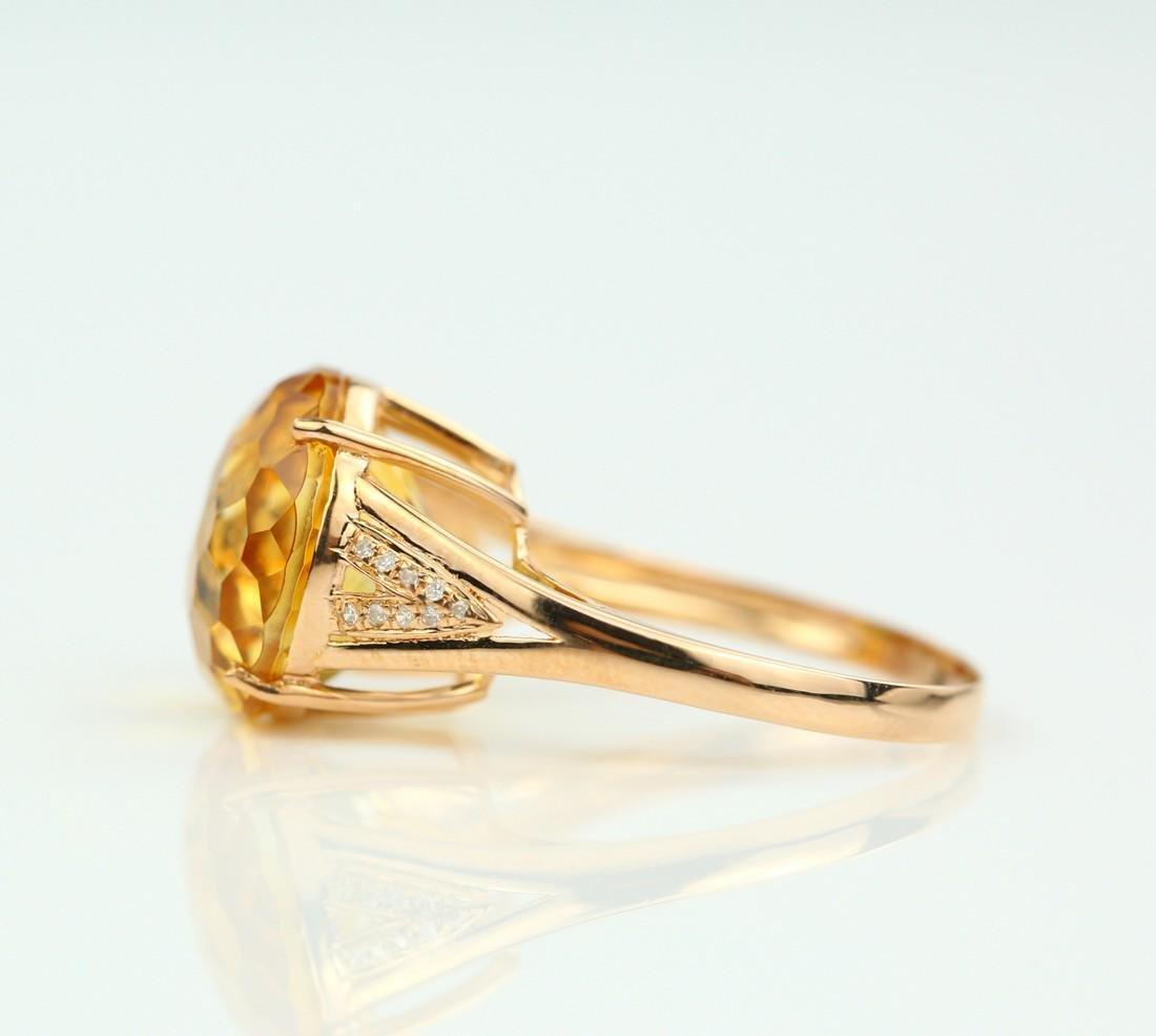 Certified-Beautiful Citrine 18k rose gold ring - 4