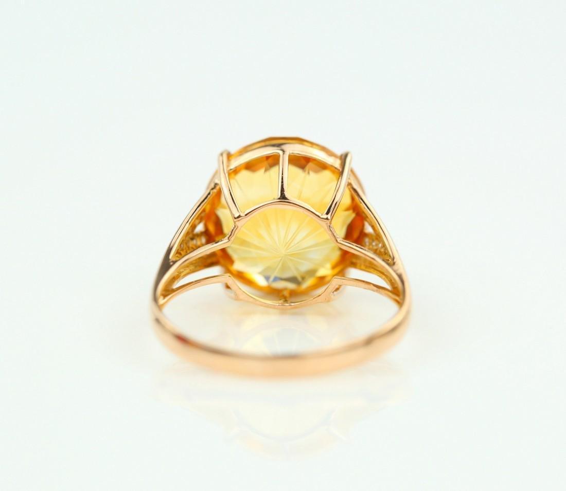 Certified-Beautiful Citrine 18k rose gold ring - 5