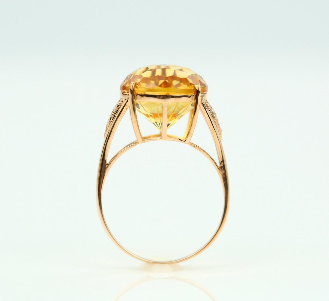 Certified-Beautiful Citrine 18k rose gold ring - 6