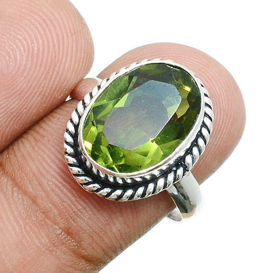 Unique Green Peridot 925 Sterling Silver Ring Size 7.5