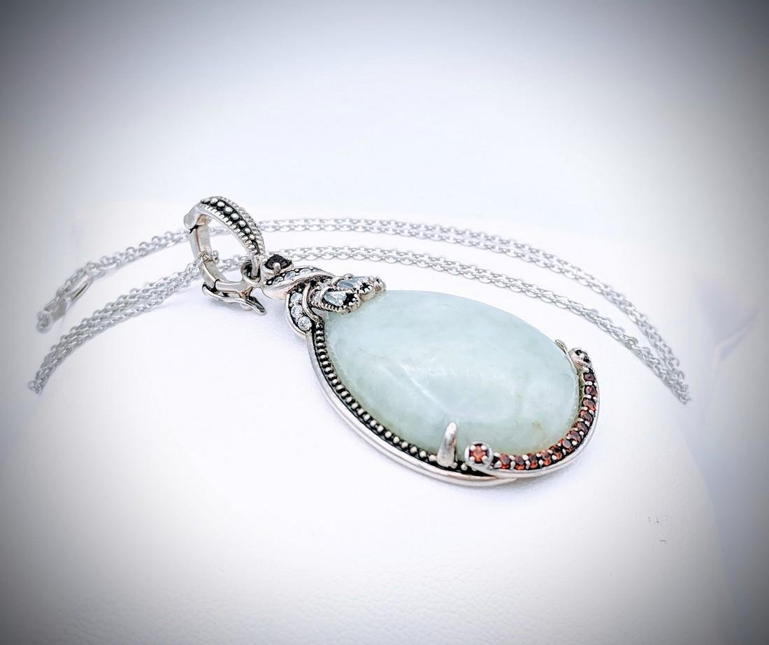 Sterling Silver Necklace with Vintage Style Jade, Cz - 2
