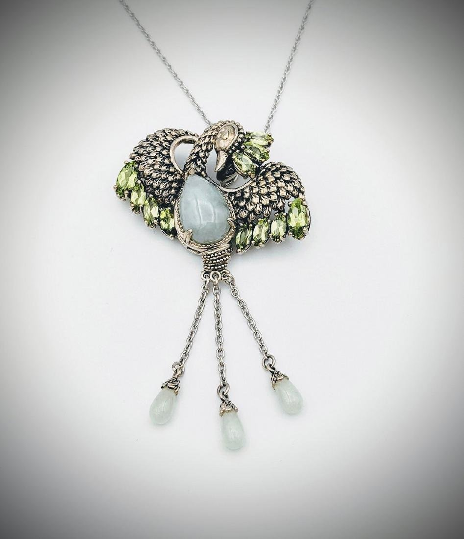 Sterling Silver Necklace and Phoenix Pendant with Jade