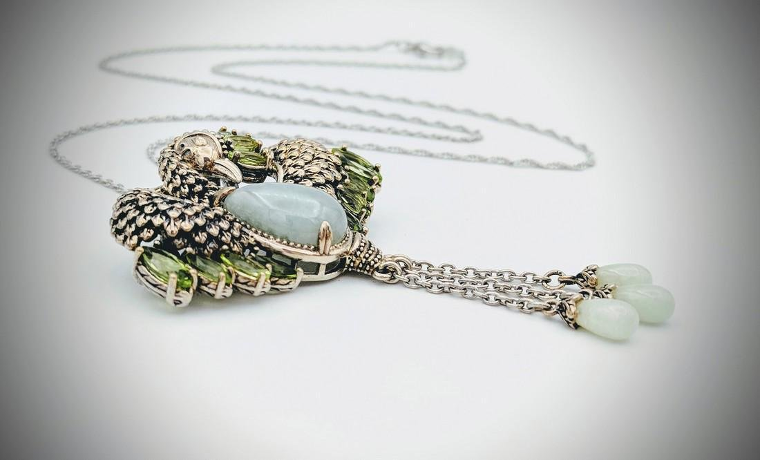 Sterling Silver Necklace and Phoenix Pendant with Jade - 2