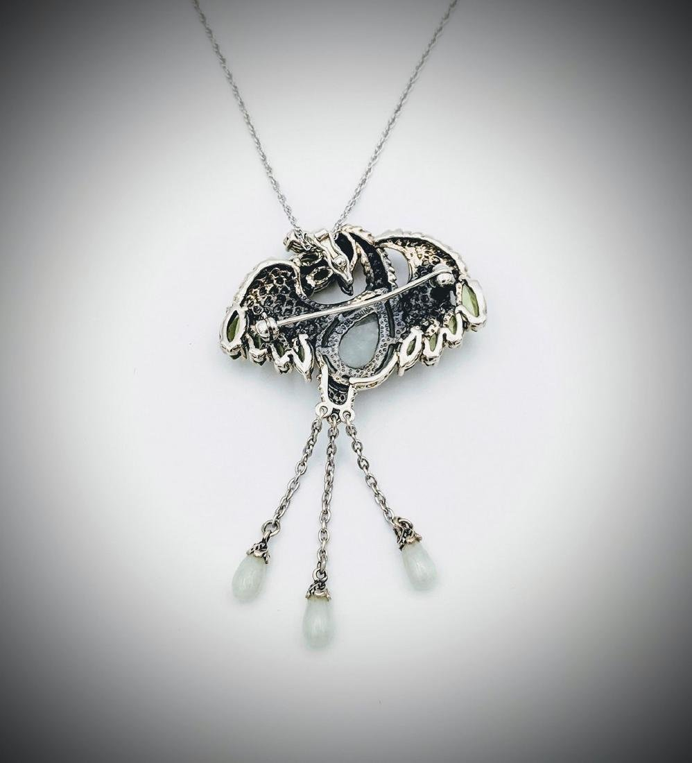 Sterling Silver Necklace and Phoenix Pendant with Jade - 3