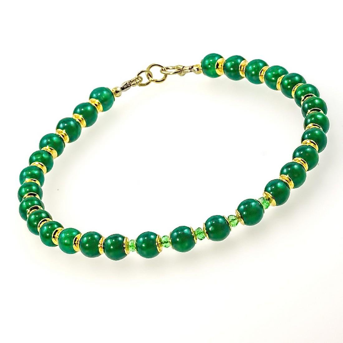 14K Jade Bracelet with Colombian Emeralds