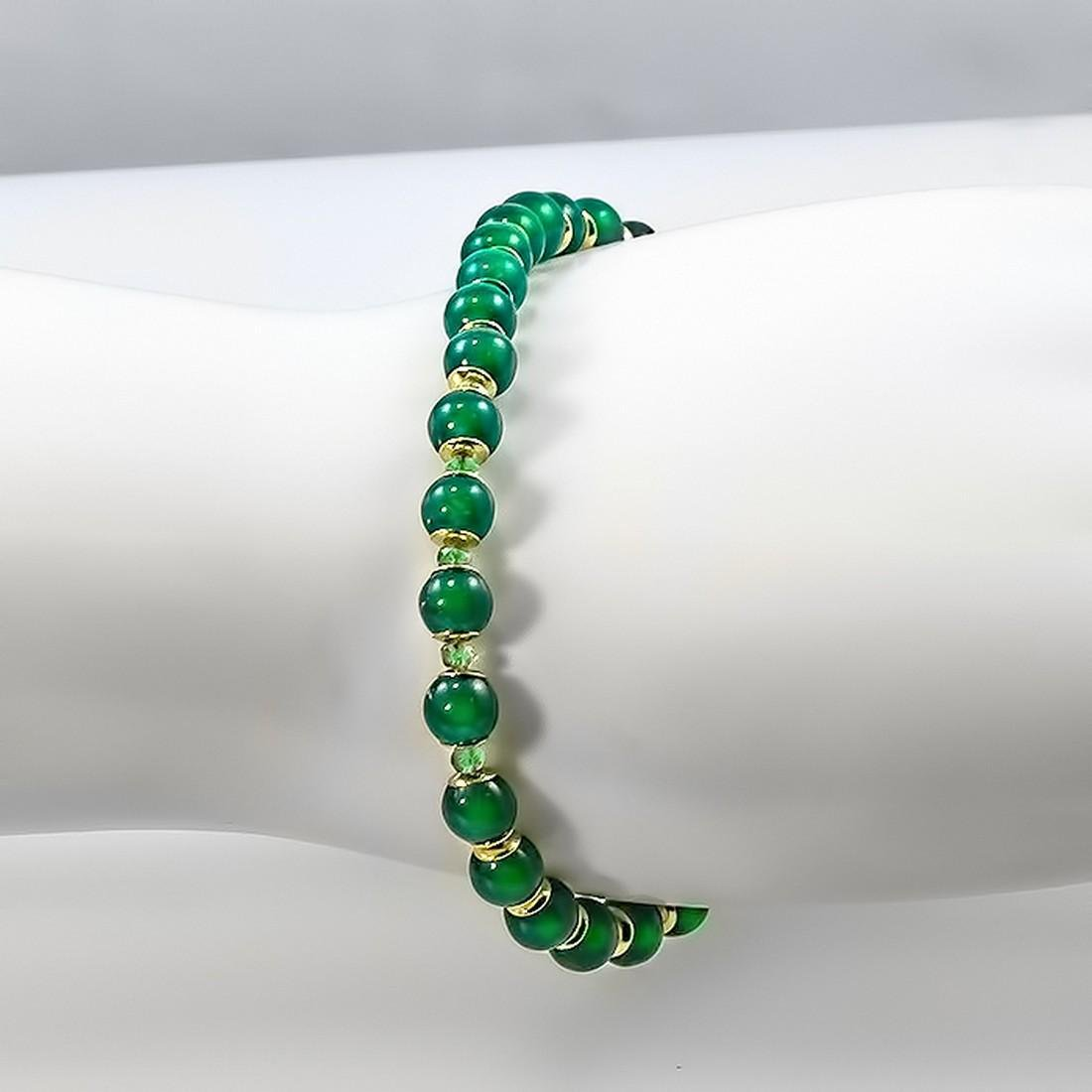 14K Jade Bracelet with Colombian Emeralds - 3