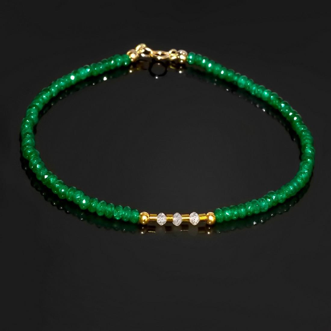 14K Precious Jadeite Jade bracelet with Diamonds 0.2