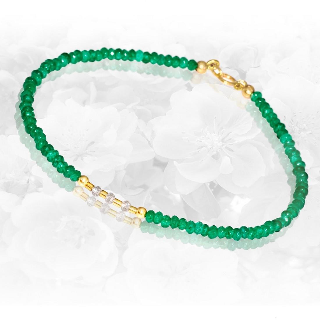 14K Precious Jadeite Jade bracelet with Diamonds 0.2 - 2