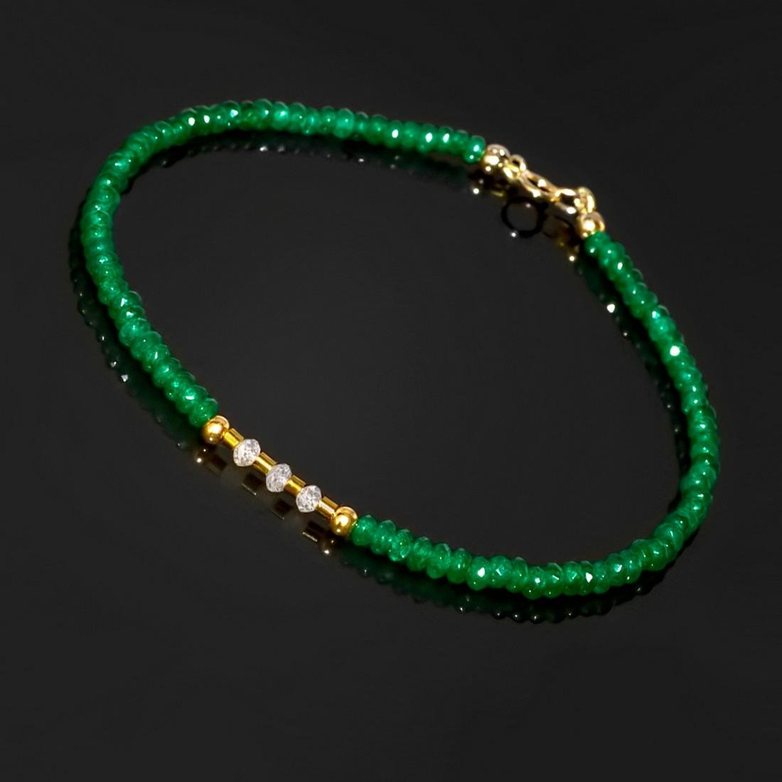 14K Precious Jadeite Jade bracelet with Diamonds 0.2 - 3