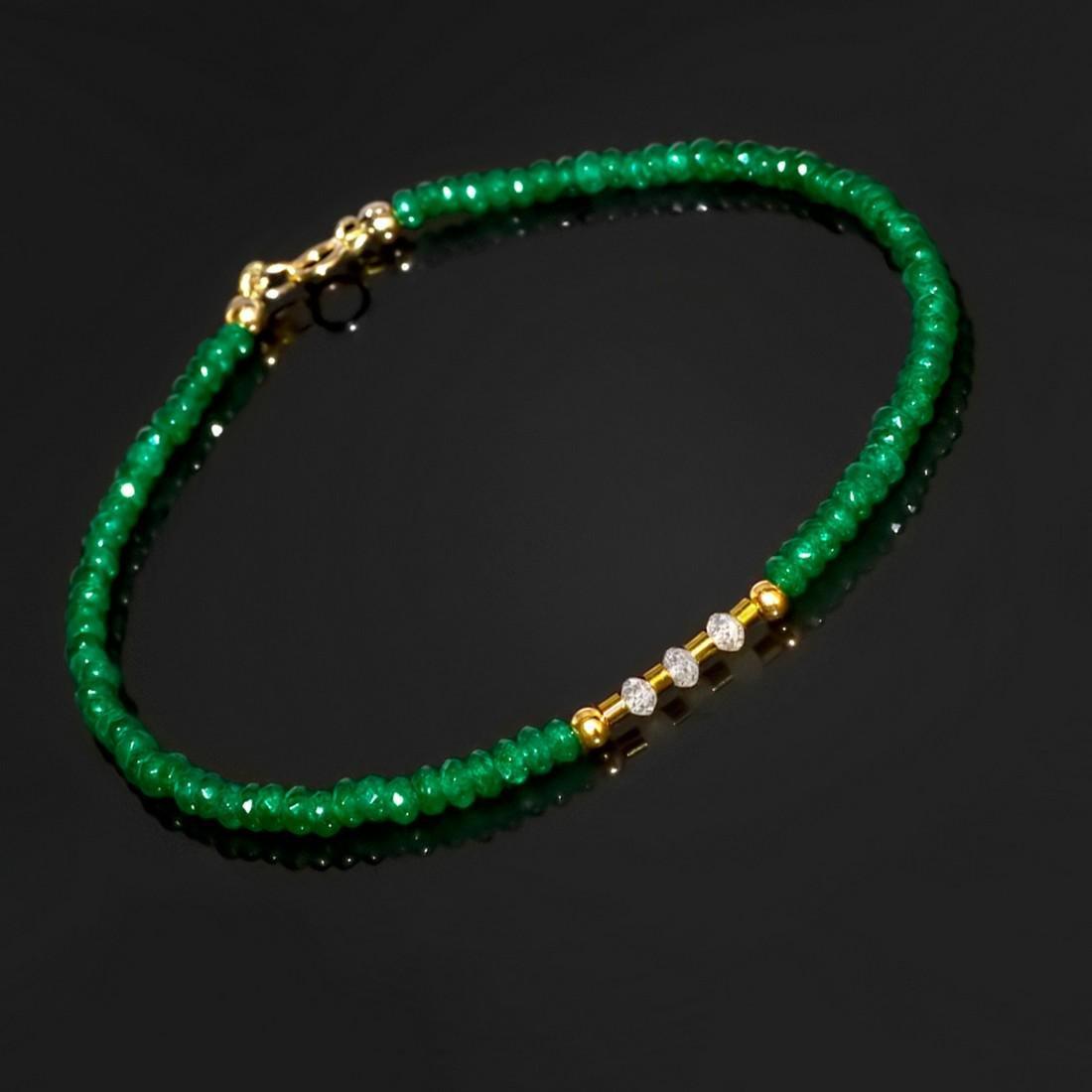 14K Precious Jadeite Jade bracelet with Diamonds 0.2 - 4