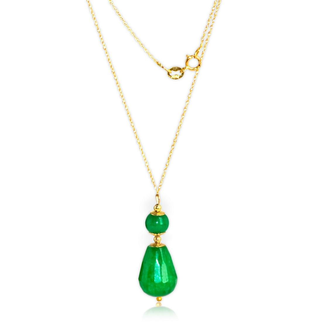 18K Retro Style Colier with Imperial Emerald Green Jade