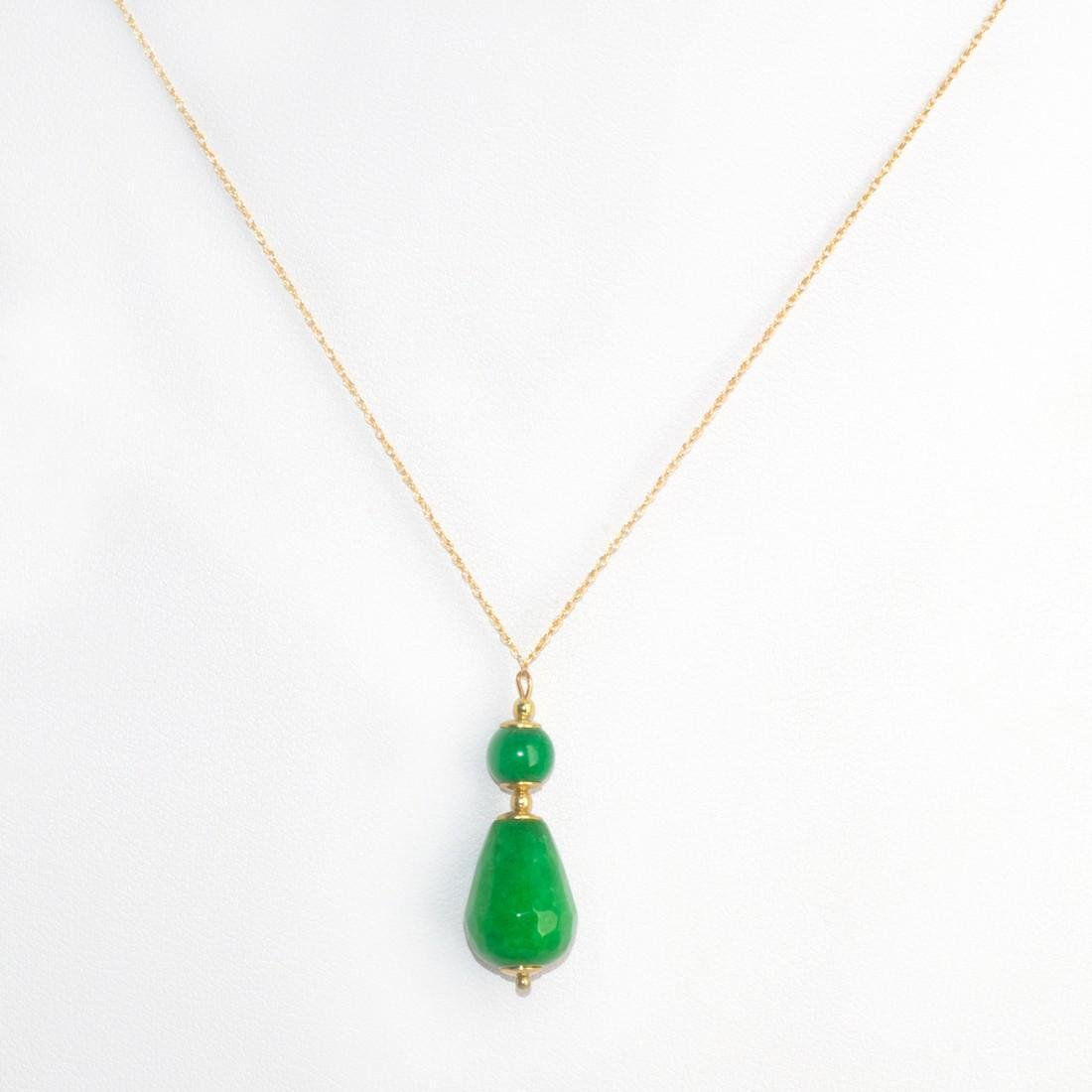18K Retro Style Colier with Imperial Emerald Green Jade - 4