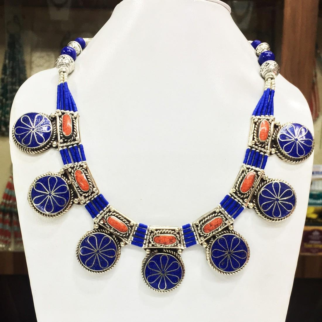 Coral & Lapis Handmade Necklace