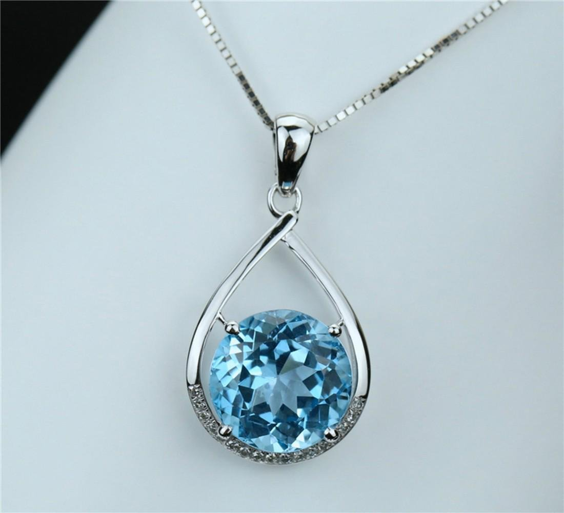 18k white gold pendant with blue topaz 6.7ct. - 7