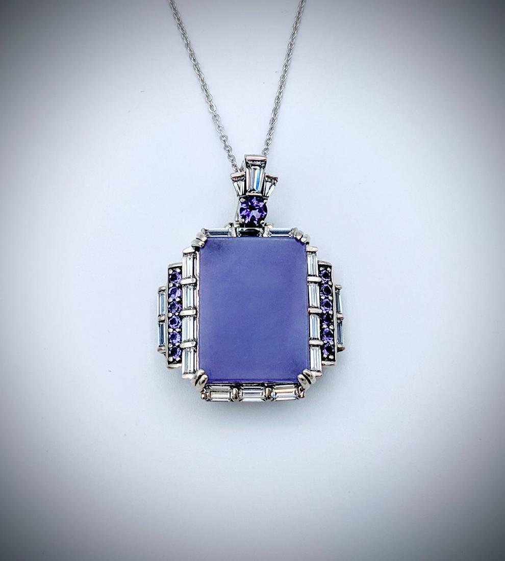 Sterling Silver Necklace with Violet Jade, Amethyst,
