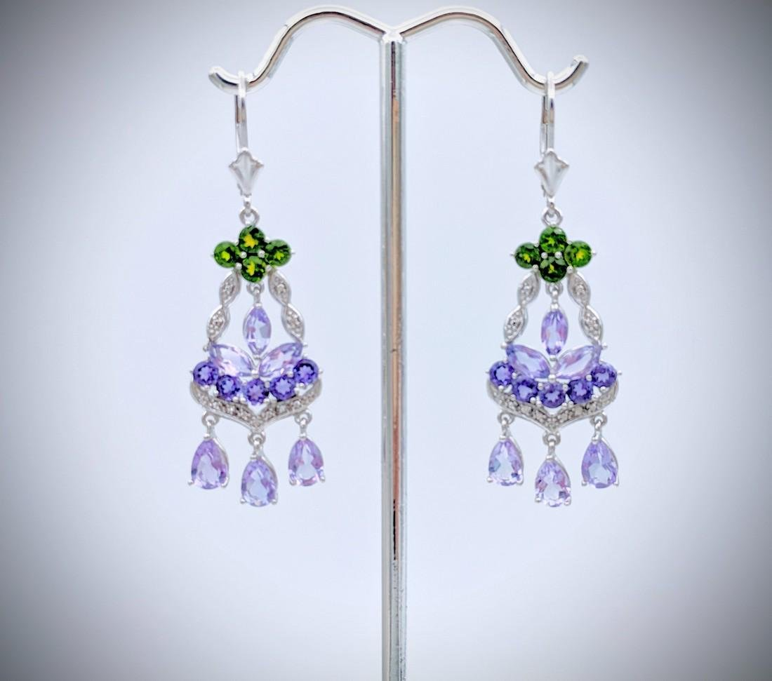 Sterling Silver Chandelier Earrings with Amethyst,