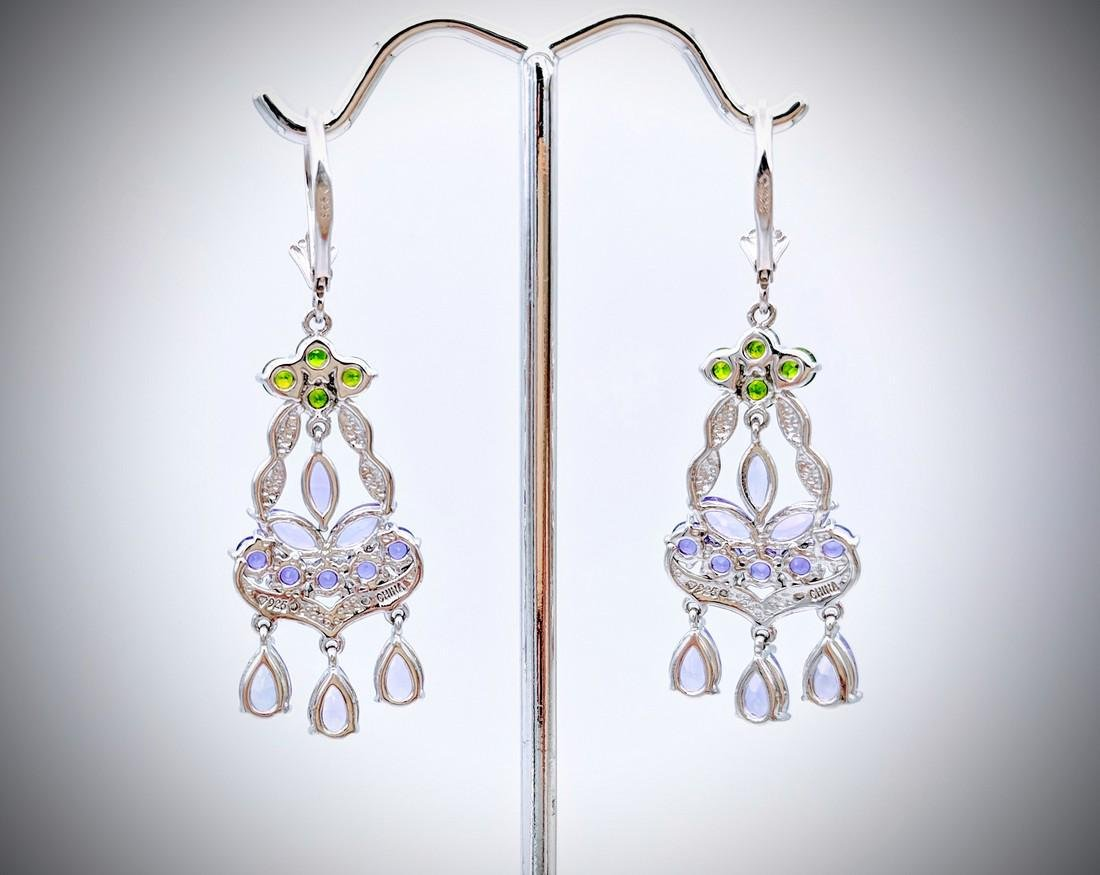 Sterling Silver Chandelier Earrings with Amethyst, - 3