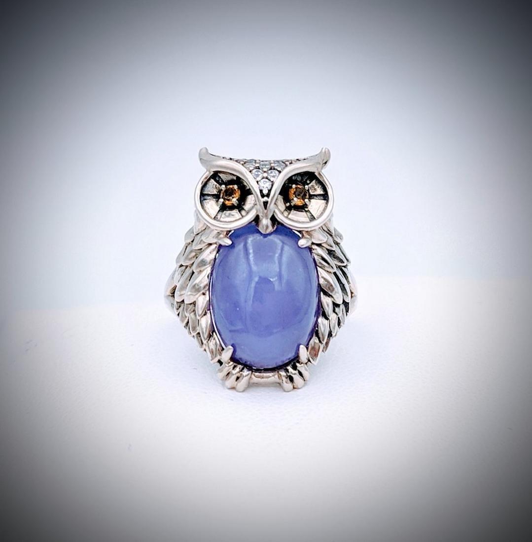 Sterling Silver Sz 7 Owl Designed Ring w Violet Jade,