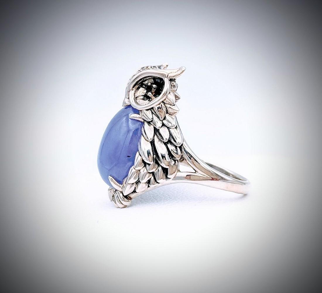 Sterling Silver Sz 7 Owl Designed Ring w Violet Jade, - 2