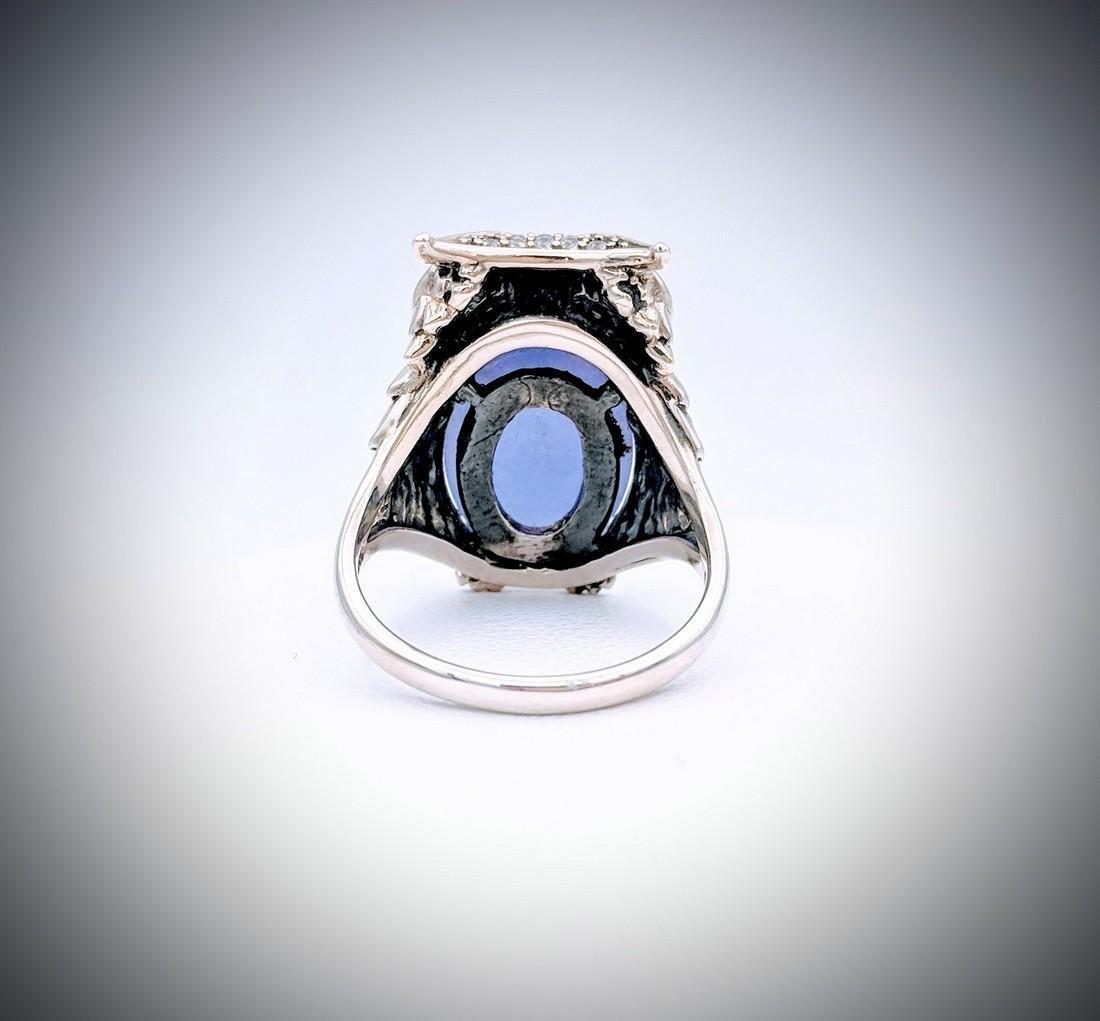 Sterling Silver Sz 7 Owl Designed Ring w Violet Jade, - 3