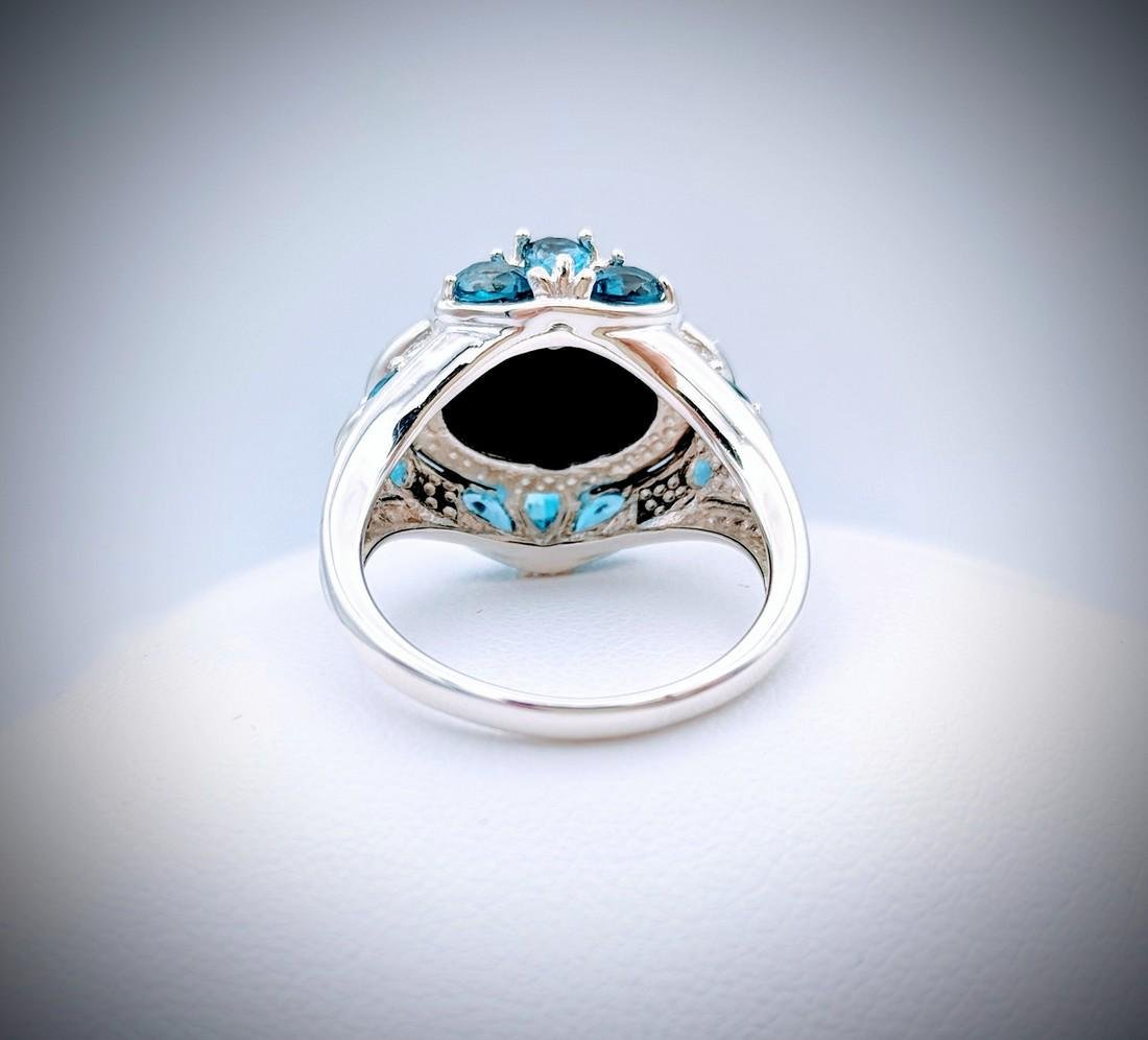 Sterling Silver Sz 7 Black Onyx and London Blue Topaz - 4