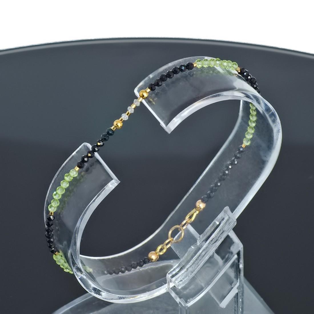 14K Sapphire and Emerald and Diamonds 0.2ctw Bracelet - 2
