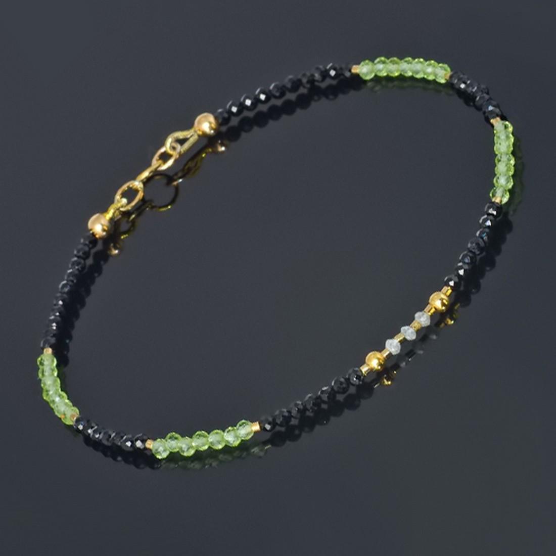 14K Sapphire and Emerald and Diamonds 0.2ctw Bracelet - 4