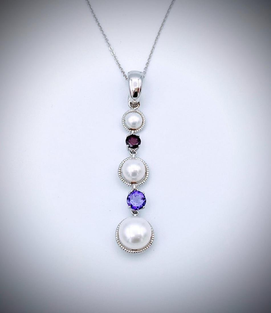 Sterling Silver Necklace with Triple Drop Pearl, Red